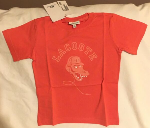 73d3afdbacd2 100% Genuine Lacoste Boys TJ8848 Orange Melon T-Shirt 4 Years Old 104 cms