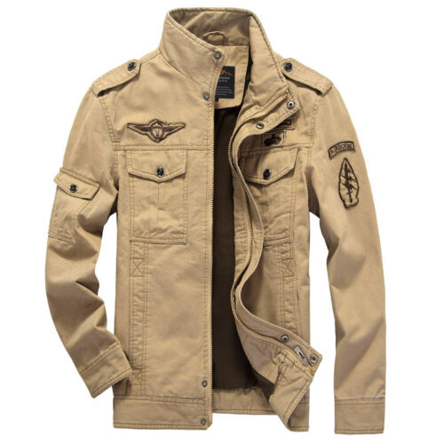 New Men/'s Military Style Slim Fit Zip Jacket Air Force jacket Military Coat