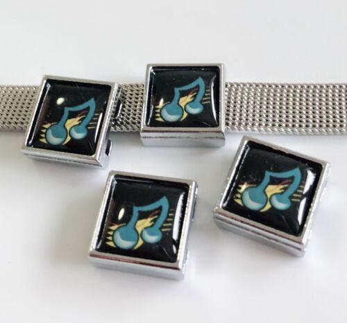 10pcs 8mm Music note Printed Plastic Square Slide Charms Fit Collar Bracelets