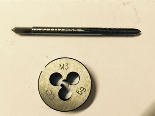 New 1pc HSS Machine M3 X 0.5mm Plug Tap and 1pc M3 X 0.5mm Die Threading Tool