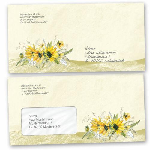 mit Fenster Briefumschläge GELBE SONNENBLUMEN 10 Stück DIN LANG Blumenmotiv
