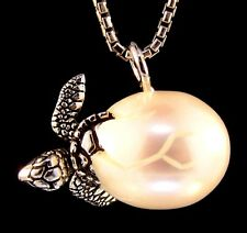 CARVED FRESHWATER PEARL Galatea Sterling Silver Hatching Baby Sea Turtle Pendant