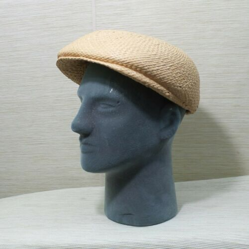 Straw Cabbie Hat Cap Union Made Natural Newsboy M… - image 1