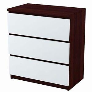 Kommode Mit 3 Schubladen Sideboard Weiss Wenge Anrichte Holz Ebay