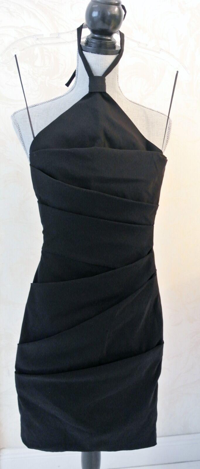 Schwarz Halter PREEN Rouche Pencil Pencil Pencil Knie-Länge Kleid, Größe XS 7b0
