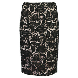 Alexander-McQueen-Blush-Black-Lace-Overlay-Pencil-Skirt-IT38-UK6