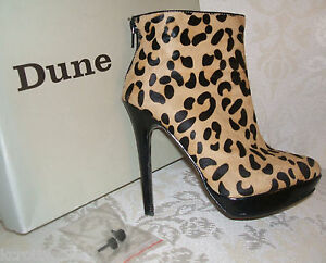 650d341e7149 RRP £155 DUNE SIZE 3 36 LEOPARD PRINT PONY FUR HAIR JUMP ANKLE BOOTS ...