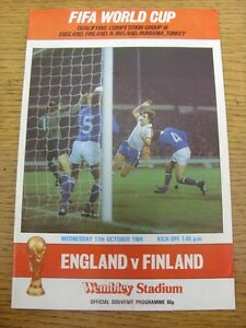 17101984 England v Finland At Wembley  Item appears to be in good condition - <span itemprop=availableAtOrFrom>Birmingham, United Kingdom</span> - Returns accepted within 30 days after the item is delivered, if goods not as described. Buyer assumes responibilty for return proof of postage and costs. Most purchases from business s - Birmingham, United Kingdom