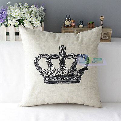 Fashion linen Throw Pillow Cases Home Decorative Cushion Cover Crown&Tower NEW