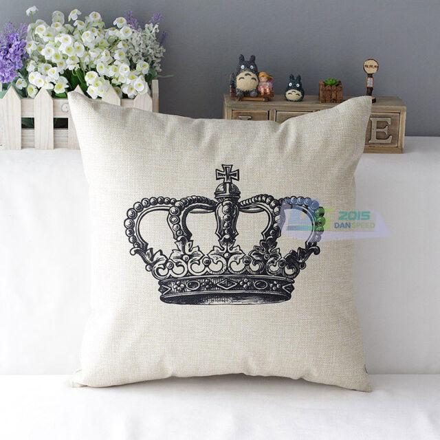 Retro Vintage Throw Home Decorative Cotton Linen Pillow Case Cushion Cover Crown