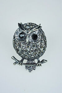 Womens-Costume-Jewelry-Marcasite-Owl-Stretch-Ring-one-size-fit-most