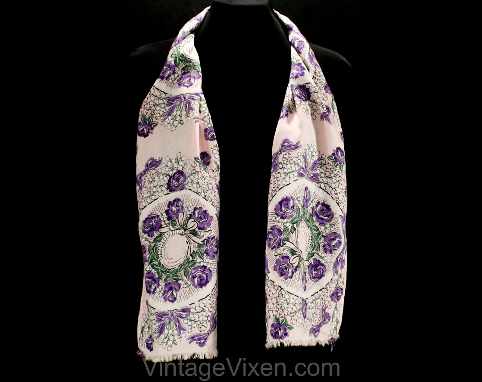 1940s Easter Bonnet Rayon Scarf - Purple & Pink R… - image 9
