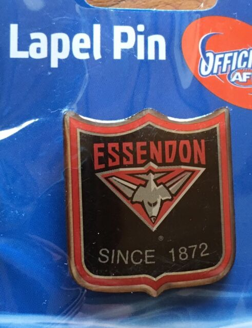 AFL BADGE LAPEL SHIELD PIN Essendon Bombers FOOTBALL FREIGHT FREE NEW ON CARD