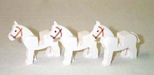 3 weiße LEGO®  Pferde