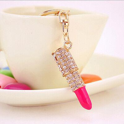 Crystal Rhinestone Lipstick Makeup Keyring Purse Bag Car Pendant Keychain GiftJB
