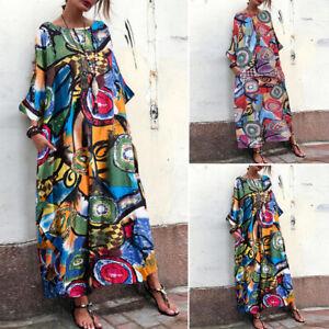 ZANZEA-Women-Ink-Floral-Print-Long-Maxi-Dress-Kaftan-Tops-Shirt-Dress-Kaftan-US