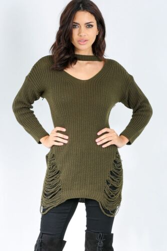 Ladies Women Choker Neck Knitted Chunky Cold Shoulder Rip Destroyed Jumper Dress
