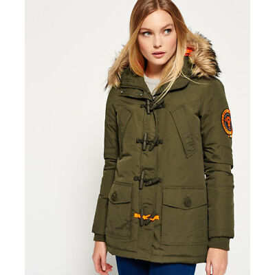 New Womens Superdry Everest Duffle Coat Khaki