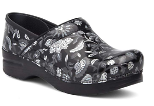 Details about NIB Dansko Professional Leather Clog in Floral Metallic Patent