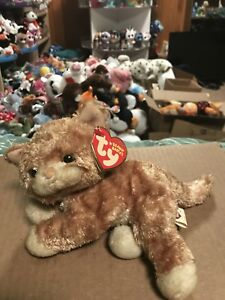 """Ty TABBLES -Orange/Beige Striped Tabby Cat 6"""" Beanie Baby! *Retired* RARE & VHTF"""
