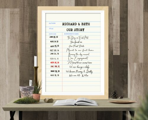 Our Story Vintage Library Card Print All Occasions wedding anniversary Gift