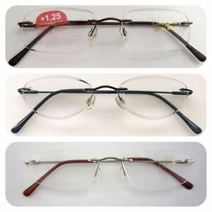 Superb-Quality-Rimless-Reading-Glasses-Spring-Hinges-Stainless-Steel-Arms