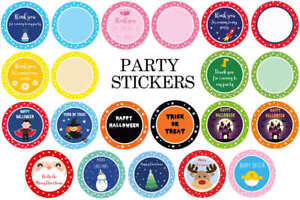 Party-Stickers-Round-Thankyou-amp-Plain-for-Sweet-Cone-Bags-Seals-BIRTHDAY