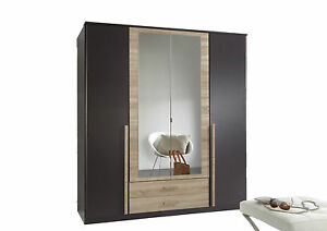 German-4-Door-Lava-Charcoal-Grey-Oak-Mirror-Wardrobe-with-Drawers
