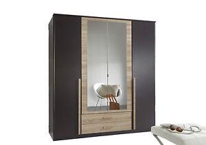 German-4-Door-Lava-Charcoal-Grey-amp-Oak-Mirror-Wardrobe-with-Drawers