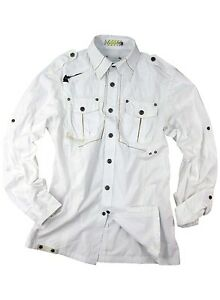 Mens military style snap button white long sleeve shirt for Mens military style long sleeve shirts