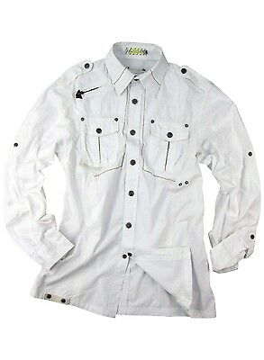Mens Military-style Snap-button White Long-sleeve Shirt #8006
