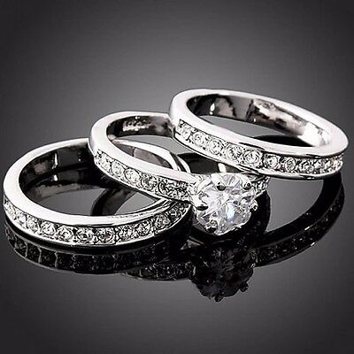 Fashion Silver 3-in-1/Set Zirconia Wedding Engagement Band Ring SZ7-9 Gift