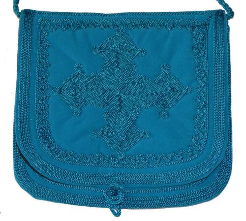Handbag Purse Moroccan Shoulder Bag Wallet Embroidery Handmade Fabric Turquoise