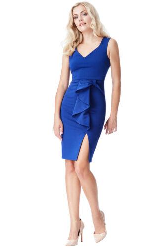 Cocktail Blue Party Split Bow 16 With Detail 8 Christmas Dress Midi New OTw0qq