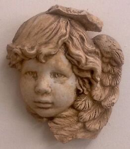Vintage Pair Angel Cherub Face Wall Candel Holder Winged Plaque Antique Finish