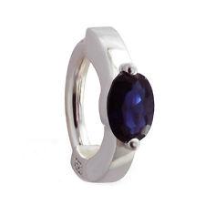 Sapphire Blue CZ TummyToys 1/2 bezel set CZ Belly Button Ring Silver