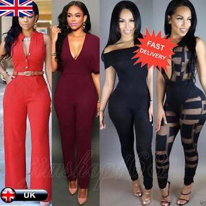 97e010ac8b6 UK Womens Bodycon Party Playsuit Ladies Romper Pants Long Jumpsuit ...