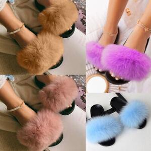 Ladies Fluffy Fur Luxury Slides Sliders Summer Slippers Flat Home Sandals Shoes