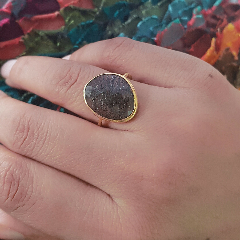 New Rutile Gemstone Promise Engagement Ring 18K Yellow gold Wedding Gift Jewelry