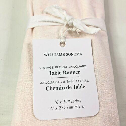Williams Sonoma Vintage Floral Jacquard Table Runner 16x108 Blush Pink