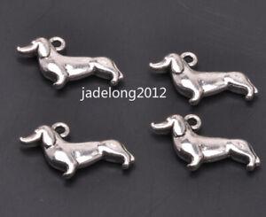 20pcs из тибетского серебра подвеска ожерелье собака кулон бусины подходят подвески ювелирных изделий A3122
