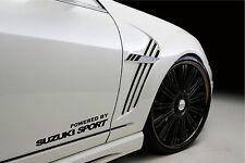 Powered by SUZUKI Sport Racing Decal sticker emblem logo BLACK Pair