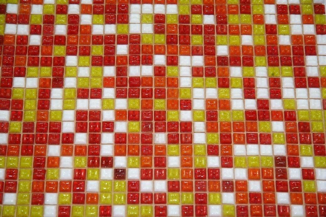 0,9qm  10 Netze 1x1 cm Fliesennetz Glasmosaik 2 MIX Farben ROT GELB Orange WEIß