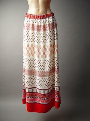 Ethnic Moroccan Paisley Scarf Print Tapestry 70s Boho Long Maxi 136 mv Skirt L
