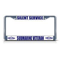 Silent Service Submarine Veteran Navy Metal License Plate Frame Tag Border