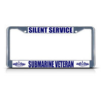 Silent Service Submarine Veteran Navy Metal License Plate Frame Tag Border