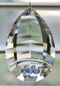 HUGE-Dimpled-Pear-SunCatcher-Huge-89mm-Austrian-Crystal-Clear-Prism-3-5-034