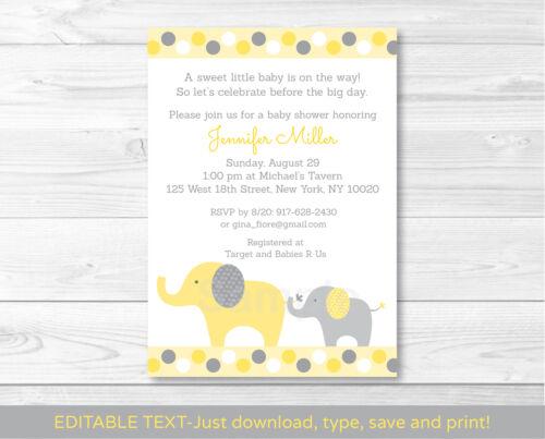 Yellow /& Grey Elephant Gender Neutral Baby Shower Invitation Editable PDF