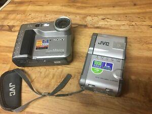 Sony-Mavica-MVC-FD71-Digital-Camera-and-JVC-DVM5-Digital-Video-Untested-Parts