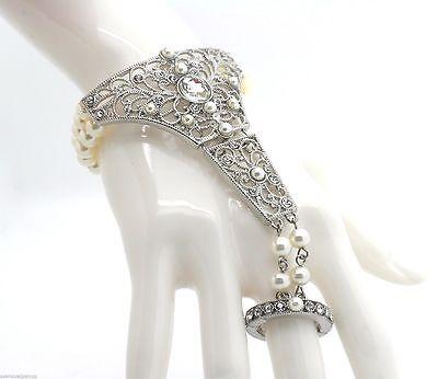 New Pearl Crystal Bracelet Ring Slave Women Silver Tone